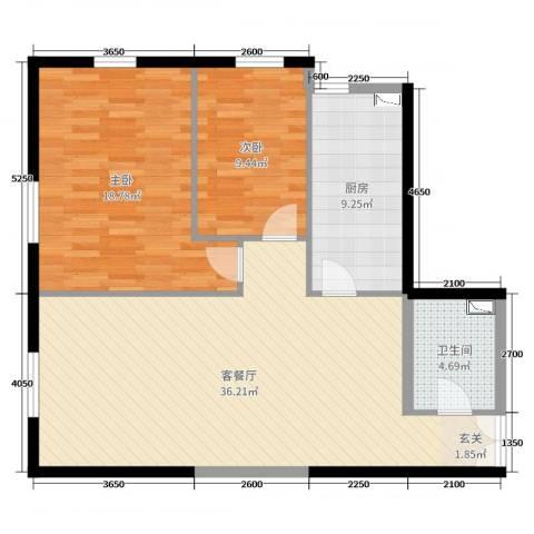 华鸿国际中心2室2厅1卫1厨113.00㎡户型图