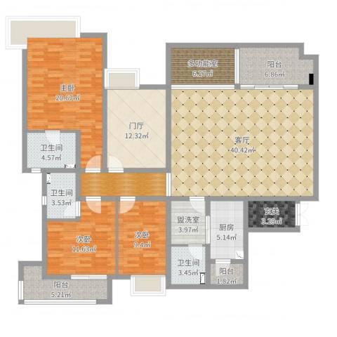 万科西街庭院3室3厅3卫1厨180.00㎡户型图