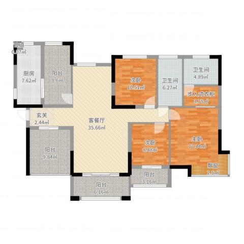 丰泰悦榕东岸3室2厅2卫1厨153.00㎡户型图