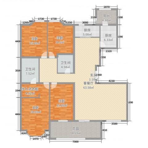 东岸国际4室2厅2卫2厨226.00㎡户型图