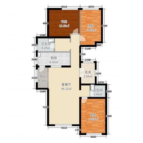 世嘉・正园3室2厅2卫1厨149.00㎡户型图