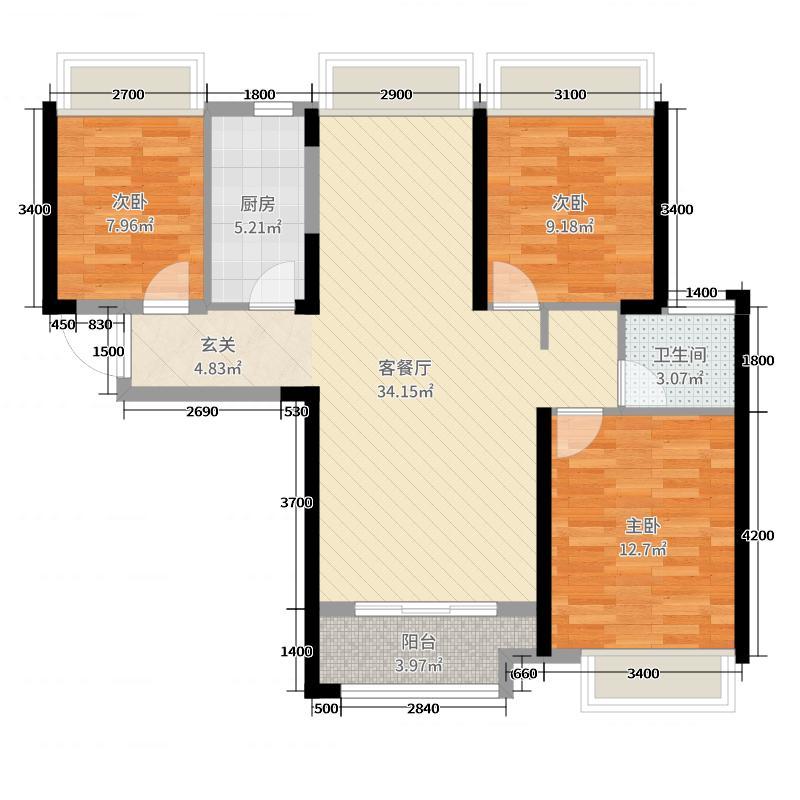广电兰亭荣荟108.00㎡7、11号楼一单元4号房二单元1号房户型3室3厅1卫1厨