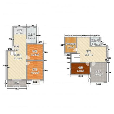 天泽水岸3室3厅2卫0厨136.10㎡户型图