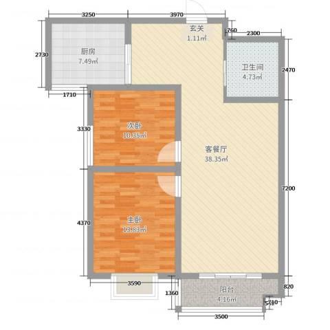 翠屏龙苑2室2厅1卫1厨99.00㎡户型图