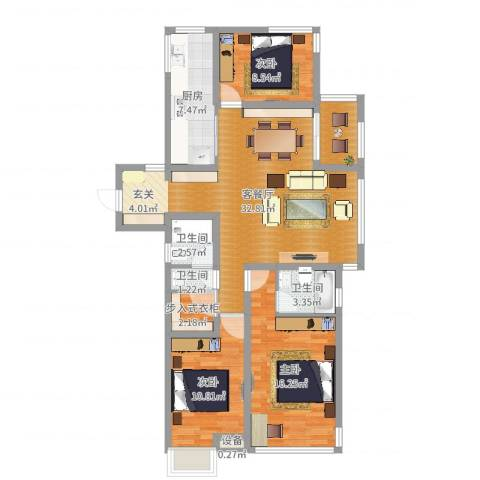 金域华府3室2厅3卫1厨88.67㎡户型图