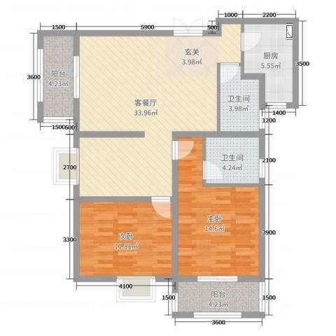 上东大道2室2厅2卫1厨118.00㎡户型图
