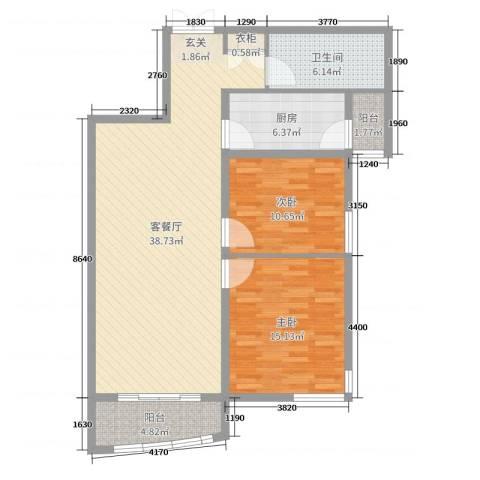 翠屏龙苑2室2厅1卫1厨105.00㎡户型图