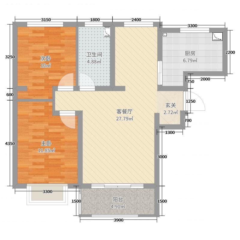 紫金江尚90.03㎡三期高层27号楼标准层E户型2室2厅1卫1厨