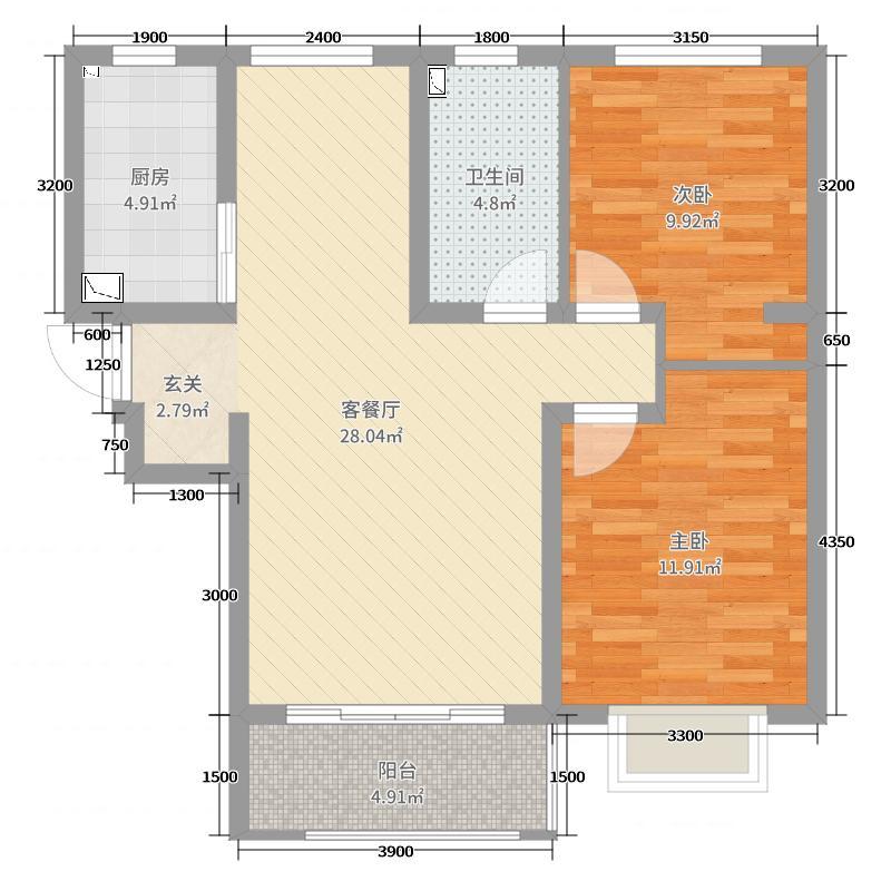 紫金江尚86.97㎡三期高层27号楼标准层D户型2室2厅1卫1厨