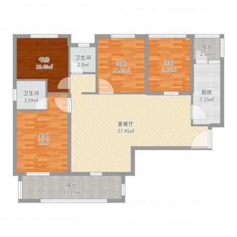 天瑞公馆4室2厅2卫1厨138.00㎡户型图