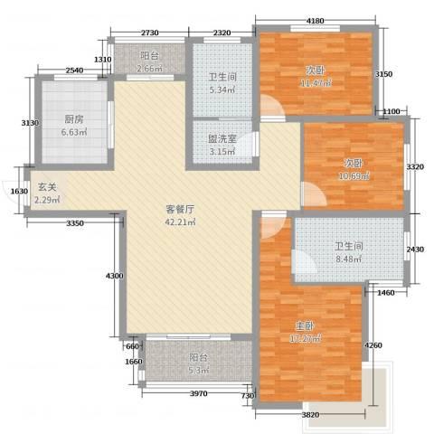 翠屏龙苑3室2厅2卫1厨142.00㎡户型图
