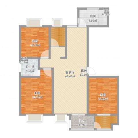 昌和时代3室2厅1卫1厨142.00㎡户型图