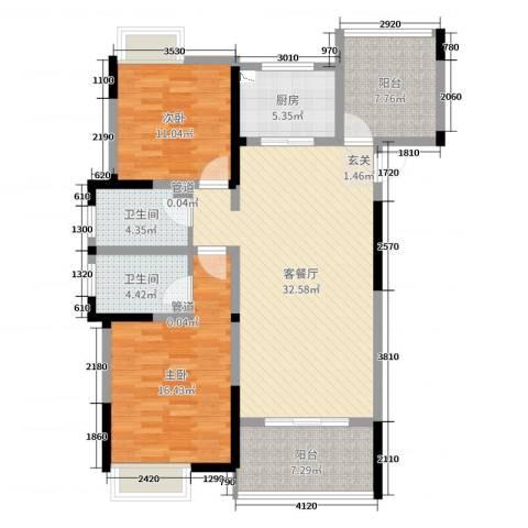 梧桐香郡2室2厅2卫1厨112.00㎡户型图