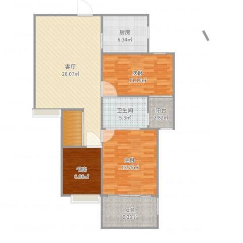 锦绣大地城3室1厅1卫1厨102.00㎡户型图