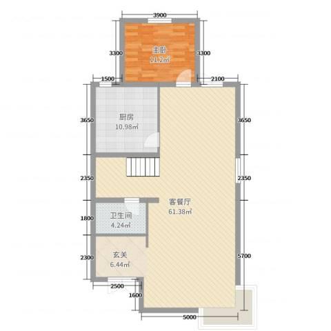 金亨世家1室2厅1卫1厨205.00㎡户型图