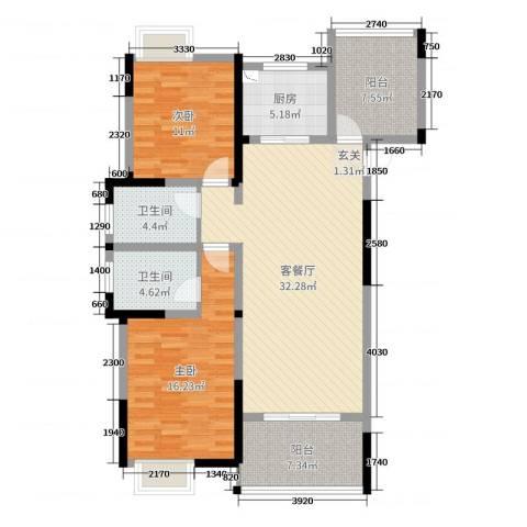 梧桐香郡2室2厅2卫1厨111.00㎡户型图