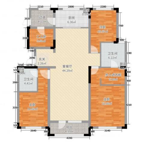 长春壹号院3室2厅2卫1厨158.00㎡户型图