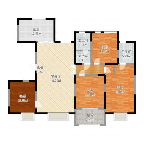 新河金都花园4室2厅2卫1厨184.00㎡户型图