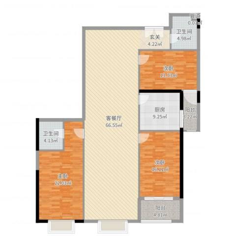 新世纪大厦3室2厅2卫1厨181.00㎡户型图
