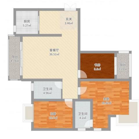 静海苑3室2厅2卫1厨95.24㎡户型图