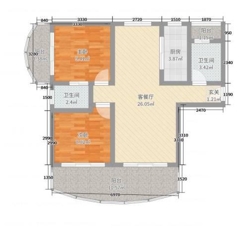 江南乐居2室2厅2卫1厨88.00㎡户型图