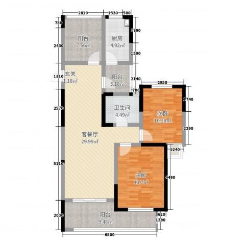 梧桐香郡2室2厅1卫1厨105.00㎡户型图