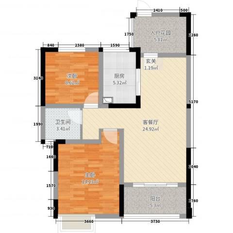 梧桐香郡2室2厅1卫1厨84.00㎡户型图