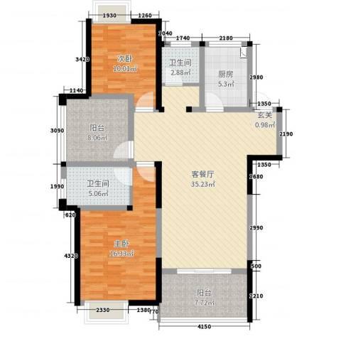 梧桐香郡2室2厅2卫1厨113.00㎡户型图