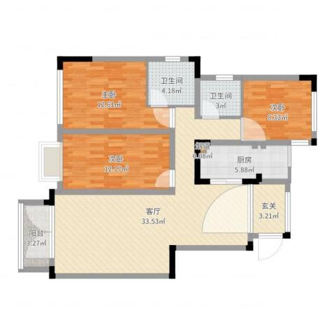 城海滨江春城一期3室1厅3卫1厨108.00㎡户型图
