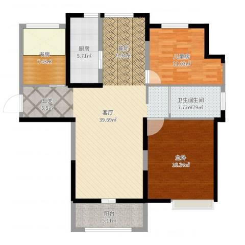蚌埠绿地中央广场3室1厅1卫1厨113.00㎡户型图