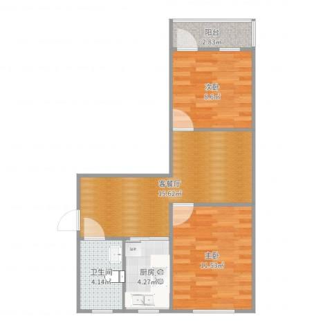 风雷新村2室2厅1卫1厨59.00㎡户型图