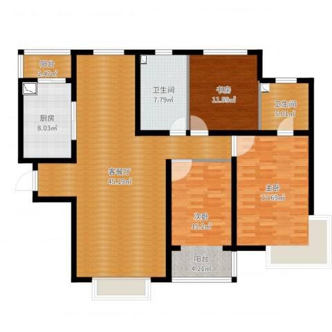 银湖馨苑3室2厅2卫1厨112.98㎡户型图