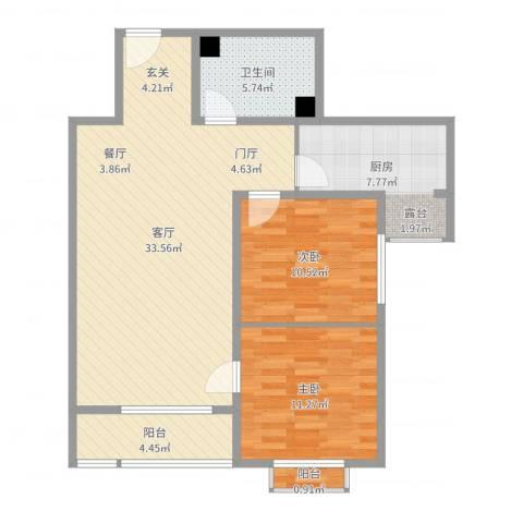 前进花园牡丹苑2室1厅1卫1厨93.00㎡户型图