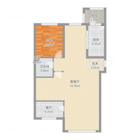 哈公馆1室3厅1卫1厨104.00㎡户型图