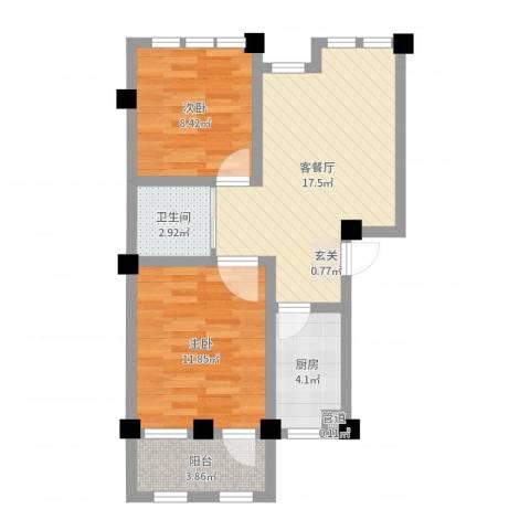 阳光托斯卡纳2室2厅1卫1厨61.00㎡户型图