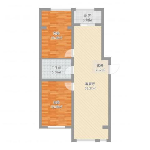 光伸卧龙港湾2室2厅1卫1厨88.00㎡户型图