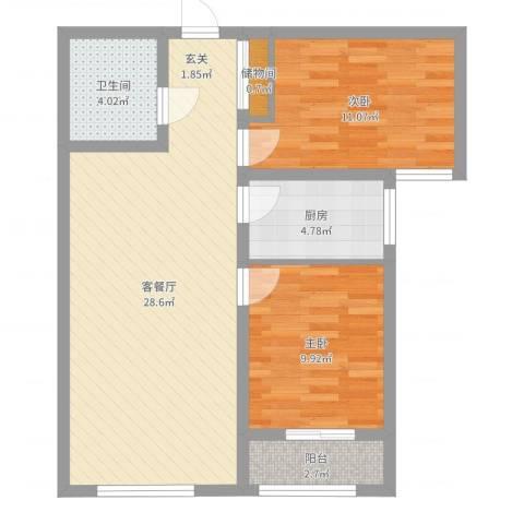 泰安盛世2室2厅1卫1厨77.00㎡户型图