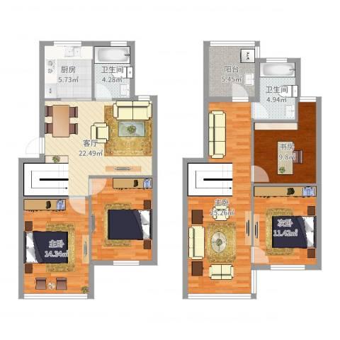 东城华园4室1厅2卫1厨144.00㎡户型图