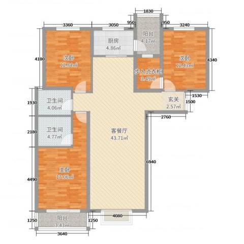龙头花园3室2厅2卫1厨139.00㎡户型图