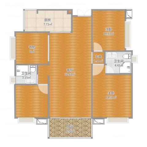 九江中航城3室1厅2卫1厨121.00㎡户型图