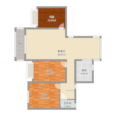万悦城3室2厅1卫1厨132.00㎡户型图