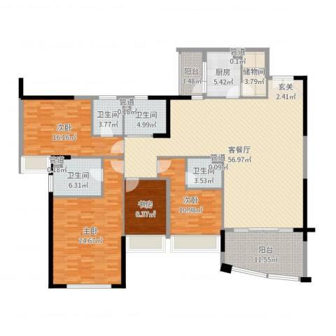 景湖时代城二期4室2厅4卫1厨201.00㎡户型图