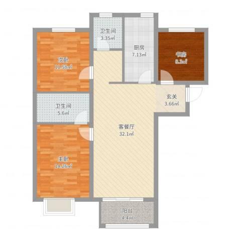 万科金域东郡3室2厅2卫1厨108.00㎡户型图