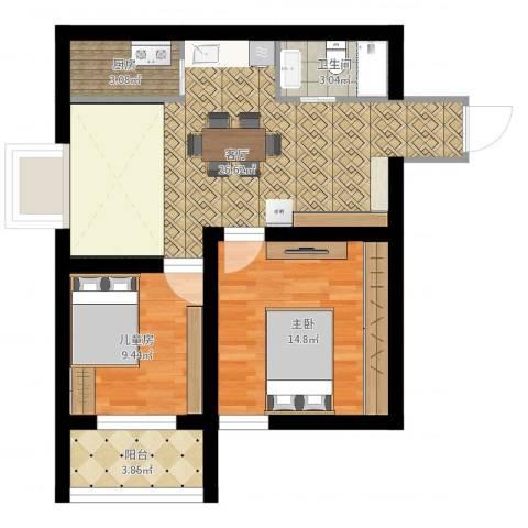 新视界2室1厅1卫1厨76.00㎡户型图