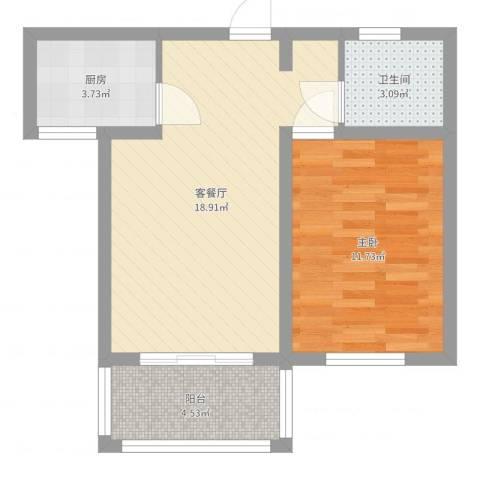 麒麟半岛1室2厅1卫1厨52.00㎡户型图
