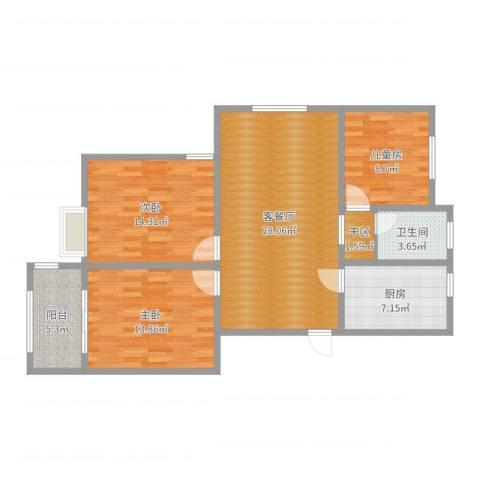 天泰茗仕豪庭A户型3室2厅1卫1厨103.00㎡户型图