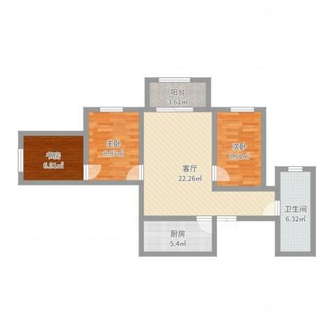 艺苑东里3室1厅1卫1厨77.00㎡户型图