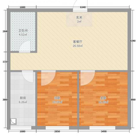 东湖凤还朝2室2厅1卫1厨74.00㎡户型图
