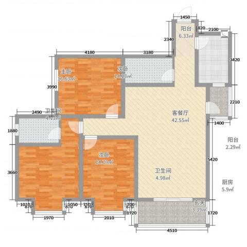 东八里小区3室2厅2卫1厨142.00㎡户型图