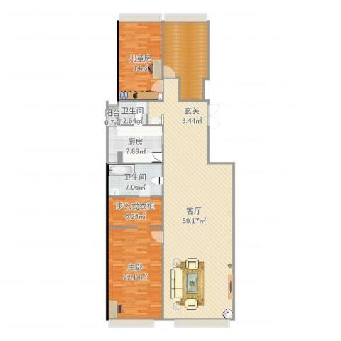 和黄御翠湾1室1厅2卫1厨163.00㎡户型图